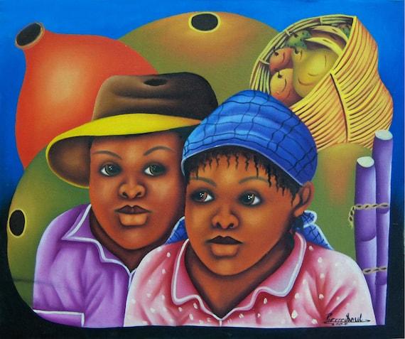 "Haitian Painting, Canvas Wall Art, Art of Haiti, Canvas Painting, Haitian Art, Original Painting, Canvas Art, Hand Painted Art,  20"" x 24"""