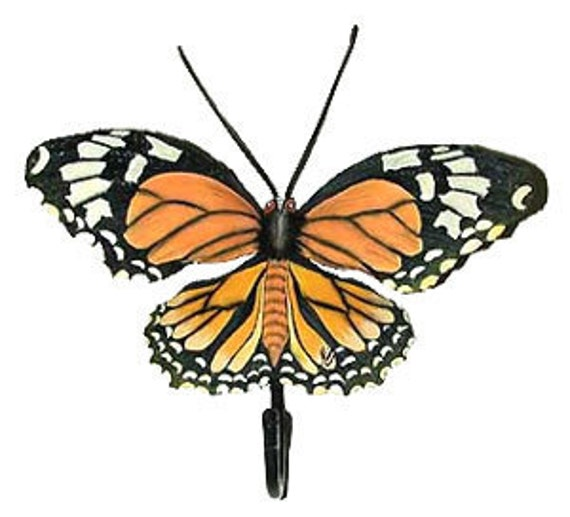 Butterfly Painted Metal Wall Hook, Monarch Butterfly, Tropical Bathroom Decor, Bathroom Hook, Butterfly Art, Towel Hook, -BU-517-H
