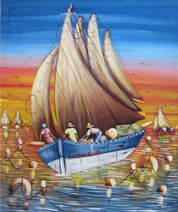 """Canvas Wall Art, Haitian Painting, Sailboat, Haitian Art, Canvas Painting, Original Painting, Canvas Art, Art of Haiti,   - 20"""" x 24"""""""