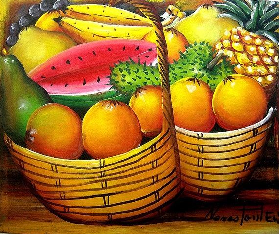 Haitian Art, Fruit, Canvas Art, Art of Haiti, Canvas Painting, Haitian Painting, Canvas Wall Art, Original Painting, Hand Painted,  20 x 24