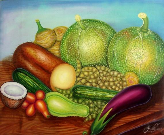 Canvas Painting, Haitian Painting, Haitian Art, Still Life Fruit, Original Painting, Canvas Wall Art, Art of Haiti, Canvas Art, 20 x 24