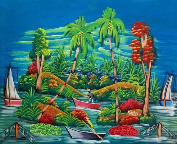 """Haitian Art, Art of Haiti, Original Painting, Haitian Painting, Canvas Painting, Canvas Art, Caribbean Art, Canvas Wall Art,  20"""" x 24"""""""