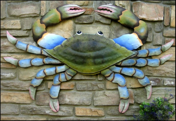 Blue Crab, Coastal Decor, Large, Garden Decor, Nautical Decor, Tropical Decor, Wall Art, K7066