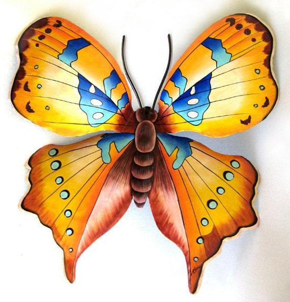 Hand Painted Butterfly Metal Wall Decor, Outdoor Metal Art, Garden Art, Tropical Decor - Haitian Metal Art, Recycled Steel Drums, 513-GL