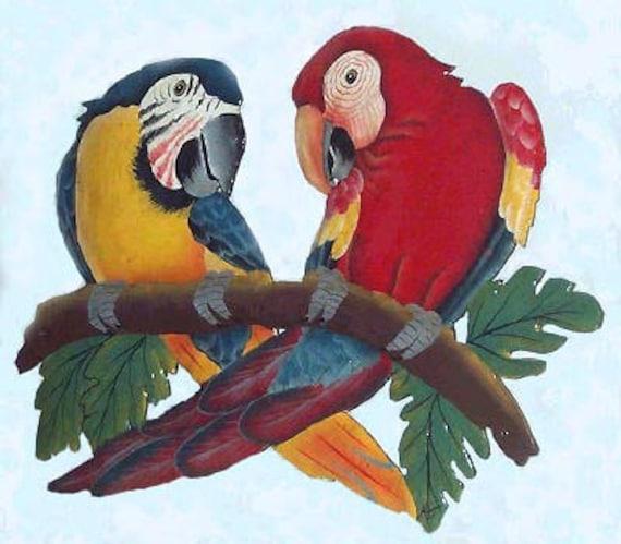 Painted Metal Parrot Wall Hanging, Metal Wall Art, Macaw, Tropical Decor, Outdoor Art, Garden Decor, Haitian Art, Tropical Metal Art, K7023