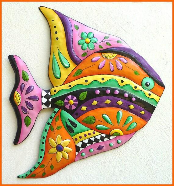 TROPICAL FISH Wall Hanging, Painted Metal Fish Art Design, Tropical Decor, Metal Art, Metal Wall Art, Tropical Art, Patio Decor - J-452-OR