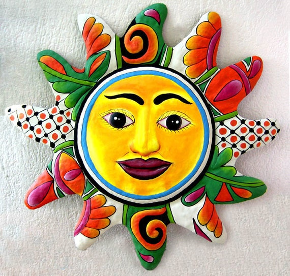 Sun, Metal Garden Art, Painted Metal Sun Wall Art - Decor, Recycled Steel Drum, Outdoor Metal Wall Art, Haitian Art, Art - M-101-OR