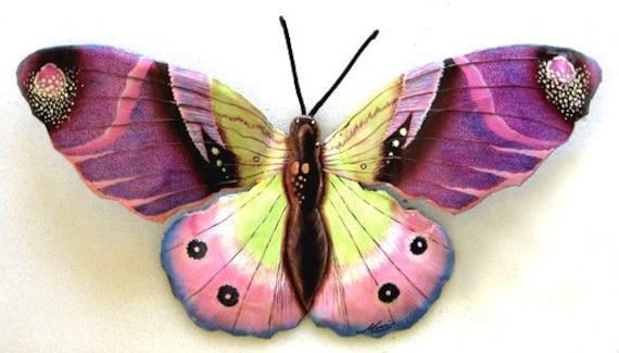 Hand Painted Butterfly Wall Decor, Butterfly Art, Garden Decor, Metal Wall Art, Metal Art, Outdoor Garden Art, Tropical Wall Art, 516-PU