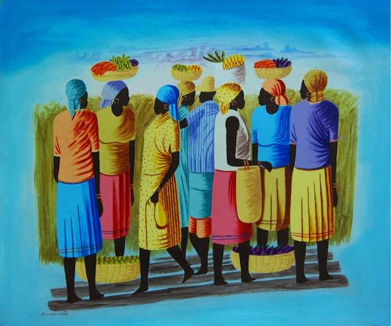 """Art of Haiti, Original Painting, Haitian Painting, Canvas Painting, Haitian Art,Canvas Art, Caribbean Art, Canvas Wall Art,  20"""" x 24"""""""