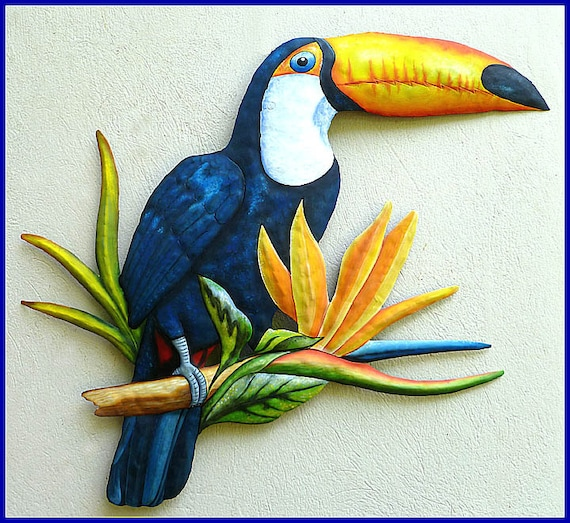 Hand Painted Toucan, Metal Art, Tropical Wall Decor, Painted Metal Parrot Wall Hanging, Tropical Decor, Metal Wall Art, Garden Art,  K7042
