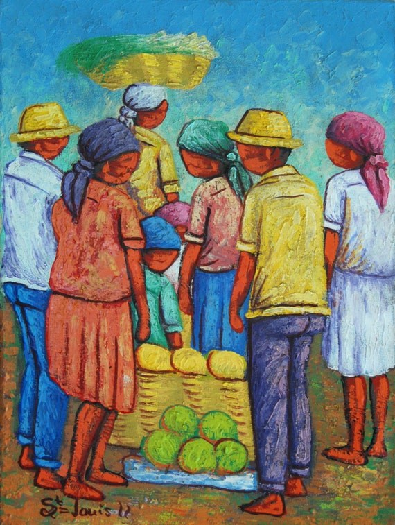 "Art of Haiti, Haitian Painting, Canvas Art, Hand Painted Art, Haitian Art, Canvas Painting, Original Painting, Canvas Wall Art, 12"" x 16"""