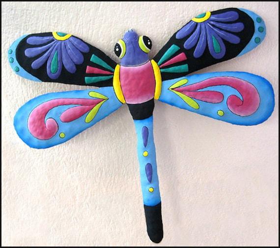 Hand Painted Metal Dragonfly, Garden Art, Wall Decor, Outdoor Garden Decor, Hand Painted Metal Wall Hanging, Tropical Design - 950-PU