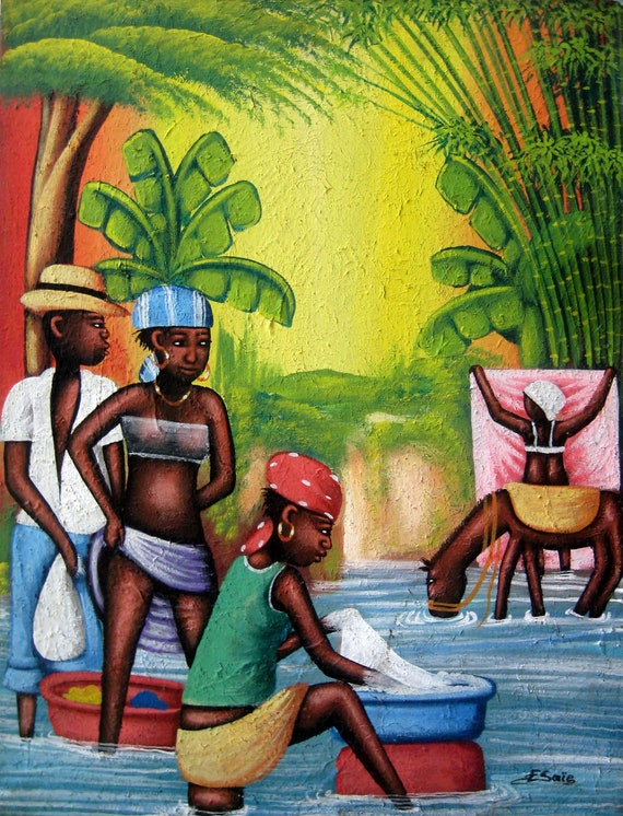 "Canvas Art, Canvas Painting, Haitian Painting, Haitian Art, Art of Haiti, Original Painting, Caribbean Art, Canvas Wall Art,  20"" x 24"""
