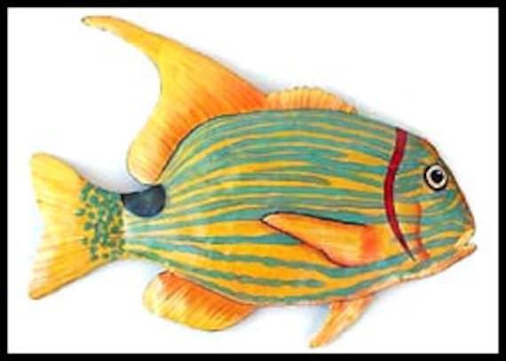 """TROPICAL FISH Metal Art, Painted Metal Wall Art, 34"""", Garden Art, Fish Wall Hanging, Garden Decor, Outdoor Metal Art, Beach Decor, K131-34-R"""