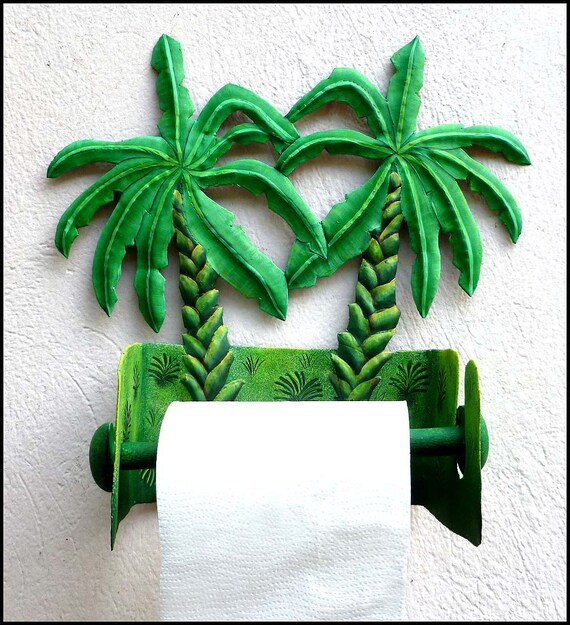 Tropical Design Toilet Paper Holder - Painted Metal Art, Banana Tree, Tropical Bathroom Decor, Toilet Tissue Holder, Tropical Decor, 990 -TP