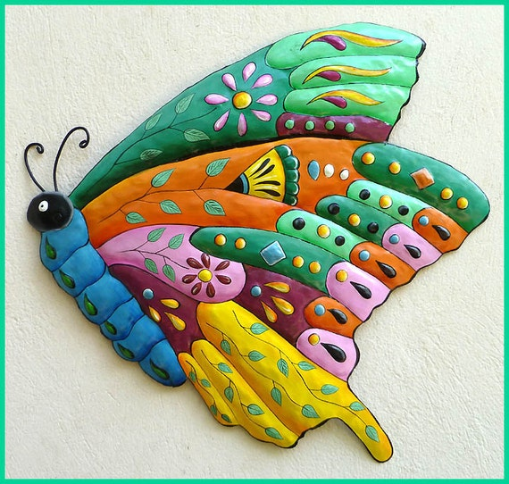 Painted Metal Butterfly Wall Hanging, Outdoor Metal Art, Butterfly Art, Metal Wall Art, Garden Decor, Garden Art, Tropical Decor - J-904-TQ