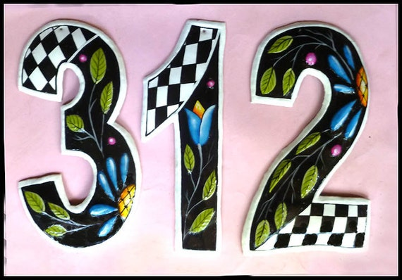 """1 House Number, 8"""" Hand Painted Metal Address, Address Numbers, Decorative House Numbers, Metal Numbers, Number, House Address, - AD-300"""