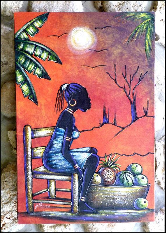 "ON SALE _  Haitian Art - Haitian Painting - Primitive Canvas Painting Art - Market Woman - Original Art of Haiti - 24"" x 36"" - P-1090"