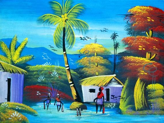 "Haitian Art, Canvas Painting, Original Painting, Canvas Art, Haitian Painting, Hand Painted Art, Art of Haiti, Canvas Wall Art,  12"" x 16"""