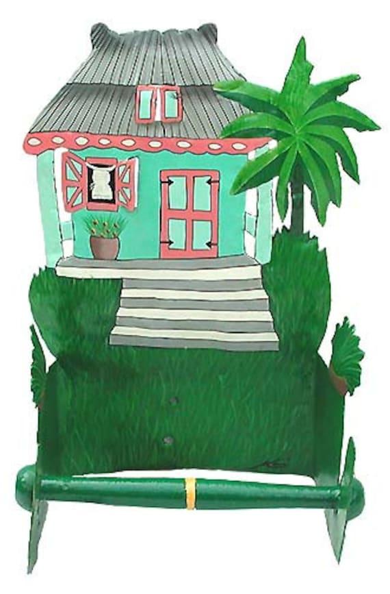 Bathroom Decor, Toilet Paper Holder, Painted Metal Gingerbread House, Tropical Decor, Tropical Metal Art, Home Decor - 7073-TQ -TP