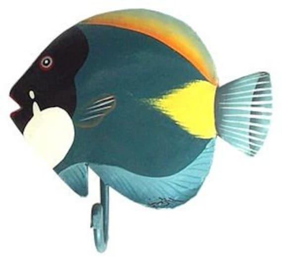 TROPICAL FISH Painted Metal Wall Hook, Bathroom Decor, Towel Hook, Coat Hook, Metal Hook. Painted Metal Decor, Tropical Decor, K-7008-HK-L
