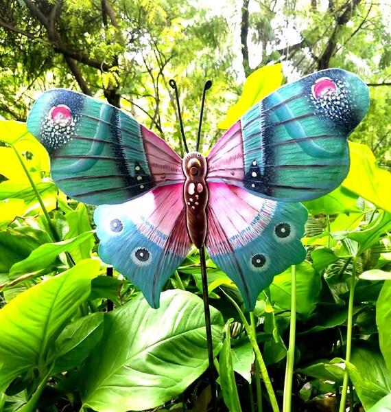 Butterfly Garden Art, Hand Painted Metal, Outdoor Decor, Patio Art, Plant Stick, Garden Decor, Yard Decor, Metal Art, Plant Marker, PS-519AQ