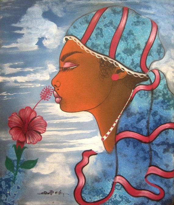 "Canvas Painting, Haitian Art, Art of Haiti, Original Painting, Canvas Art, Haitian Painting, Caribbean Art, Canvas Wall Art,  20"" x 24"""