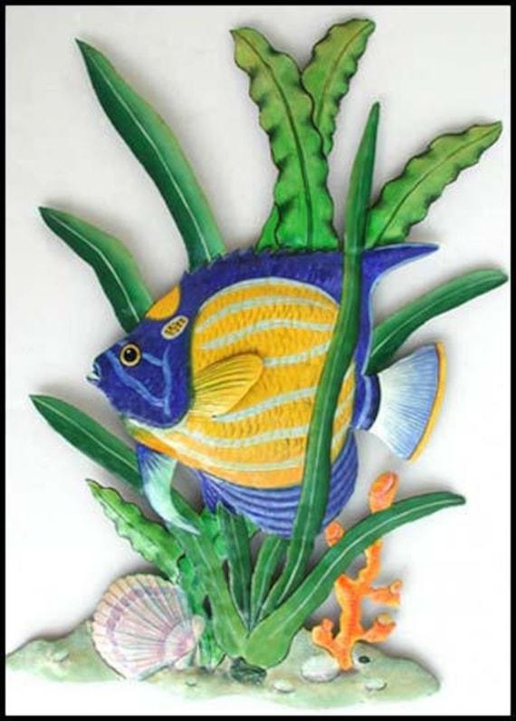TROPICAL FISH Wall Hanging, Painted Metal Art, Outdoor Metal Wall Art, Beach Decor, Tropical Decor, Fish, Garden Art, Garden Decor - K-173