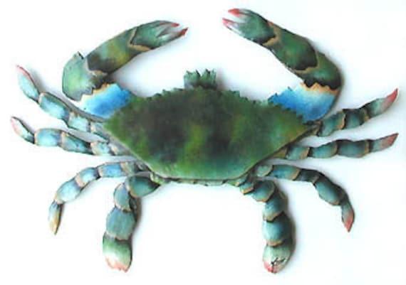 Outdoor Metal Art Blue Crab Wall Hanging 19 Coastal | Etsy