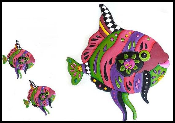 TROPICAL FISH - Mama Fish & 2 Babies, Hand Painted Metal Tropical Fish Wall Decor, Metal Art, Metal Wall Decor, Beach Decor- J-450-PK-GR-3