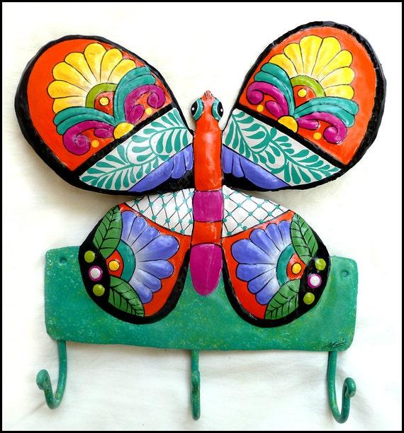 Decorative Metal Butterfly, Painted Metal Towel Hook, Wall Hook, Tropical Bathroom Decor, Metal Hook, Bathroom Accessories, M-901-OR-HK