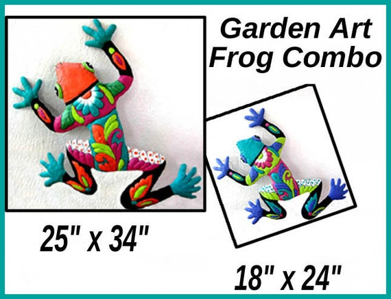 Frog Wall Hanging, 2 Frog Combo, Painted Metal Art, Outdoor Metal Wall Art, Outdoor Garden Art, Metal Wall Decor, M702-OR-TQ-Combo2