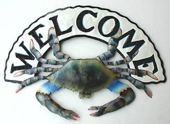 Painted Metal Welcome Sign, Blue Crab,  Coastal Wall Art, Outdoor Metal Art, Nautical Metal Art, Tropical Decor, Garden Decor -K7066-WEL