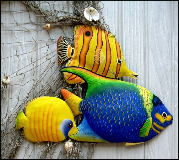 TROPICAL FISH, Metal Wall Art - Hand Painted Metal Wall Hanging - Beach Decor, Haitian art, Tropical Decor, Garden Art, Metal Art - K-150