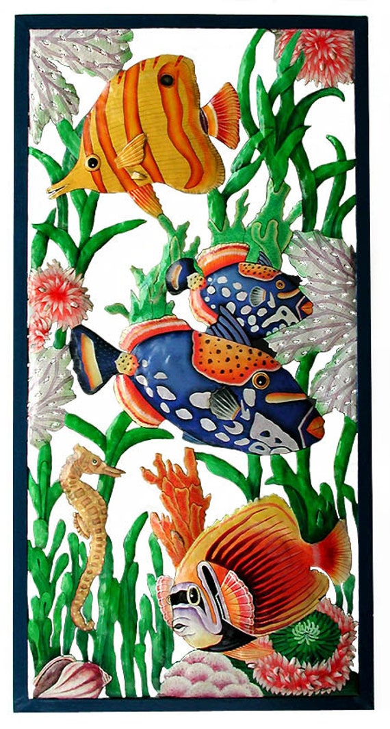 "TROPICAL FISH Metal Wall Art, Wall Hanging - Garden Art, Painted Metal Art, Tropical Home Decor, Garden Decor - Large 17"" x 35"" - K-7301"