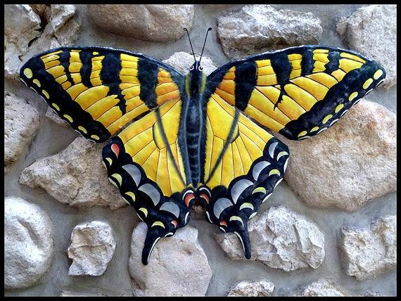 "Painted Butterfly Metal Art, Swallowtail Butterfly, Metal Wall Art, 34"", Painted Metal Butterfly, Garden Decor, Outdoor Metal Art, BU-600-34"