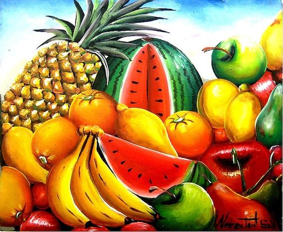 Canvas Painting, Fruit, Original Painting, Haitian Art, Art of Haiti, Still Life Fruit , Haitian Painting, Canvas Art, Hand Painted, 20 x 24
