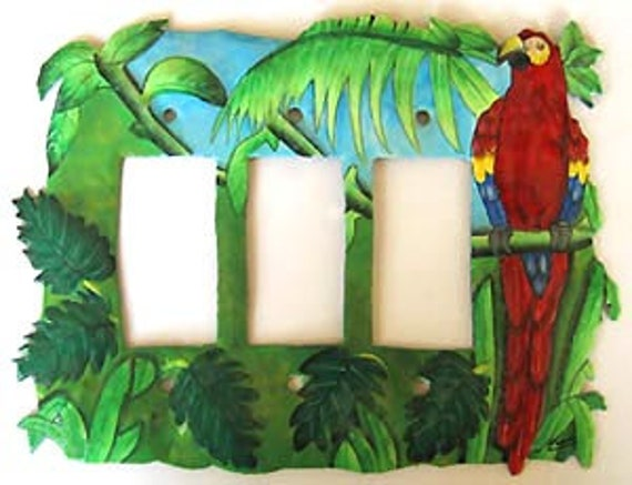 Switchplate Covers, Painted Metal Scarlet Macaw Parrot, Triple Rocker Switch Plate - Metal Light Switch Cover, Tropical Design - SR-1138 -3