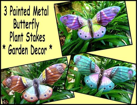 Garden Stakes, Yard Art, Garden Art, Metal Art, Butterflies, Garden Decor, Metal Butterfly, Set of 3 Painted Metal Plant Stakes, PS-Pkg - 5