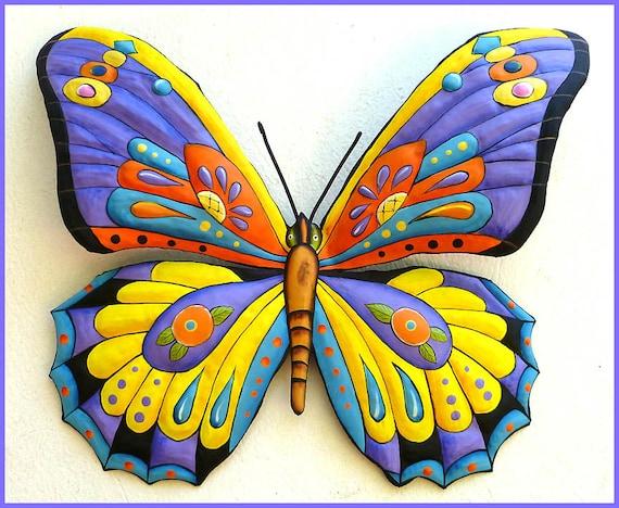 Metal Art Butterfly, Butterfly Painted Metal Wall Hanging, Outdoor Metal Art, Metal Art Wall Decor, Garden Wall Art, Butterflies, J903-PU-YL