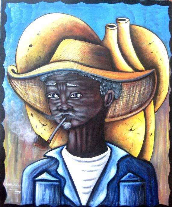 Canvas Painting, Haitian Painting, Haitian Art, Haitian Man, Original Painting, Canvas Wall Art, Art of Haiti, Canvas Art, 20 x 24