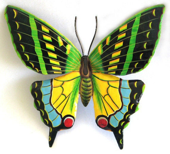 Painted Metal Butterfly Metal Wall Hanging, Garden Decor, Metal Wall Art, Garden Art, Metal Wall Decor, Painted Metal Art, Butterflies, 514