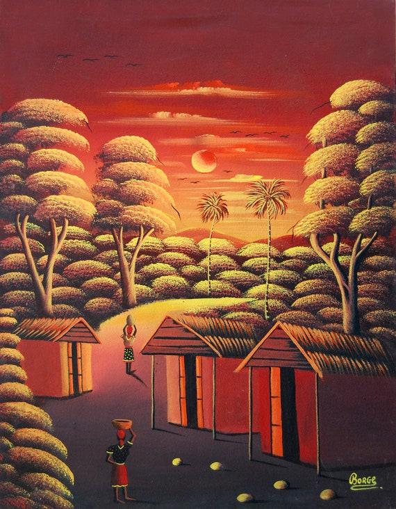 "Haitian Painting, Canvas Art, Hand Painted Art, Haitian Art, Canvas Painting, Original Painting,Art of Haiti, Canvas Wall Art, 12"" x 16"""