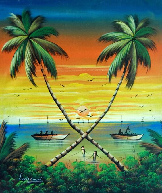 "Haitian Art, Canvas Wall Art, Art of Haiti, Canvas Painting, Haitian Painting, Canvas Art,Original Painting, Hand Painted Art,  20"" x 24"""