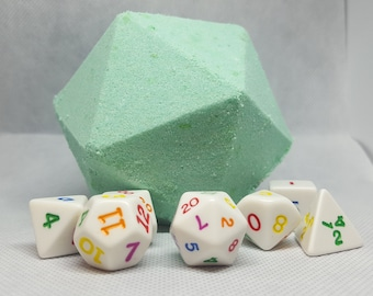 Large D20 Bath Bomb with complete suprise set of dice inside - DnD, Pathfinder, Polyhedral