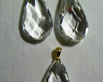 Faceted Optical Rock Crystal Drops Set of Three (C-045)
