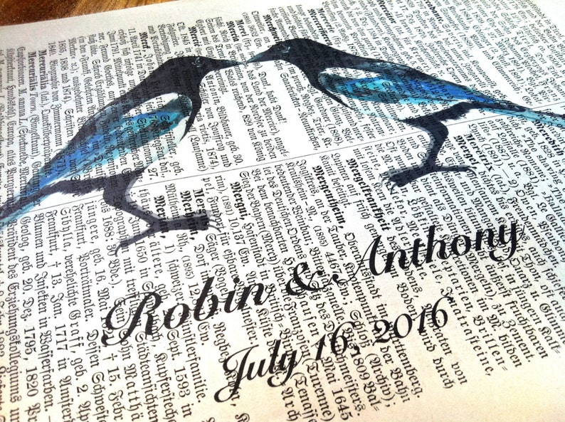 Engagement Present, Literary Gifts for Newlyweds, Custom Magpie Love  Dictionary Art Print