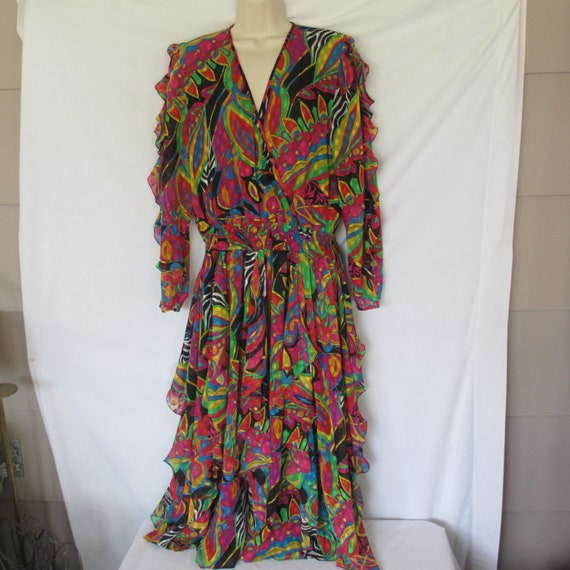 Vintage Diane Fres Bright Flowered Boho Ruffle Dre