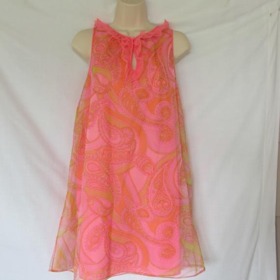 Vintage Bright Pink/Orange Paisley Lorraine Nightg