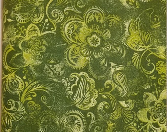 """Olive Green Large Modern Flower Print 108"""" wide back 100% cotton fabric"""